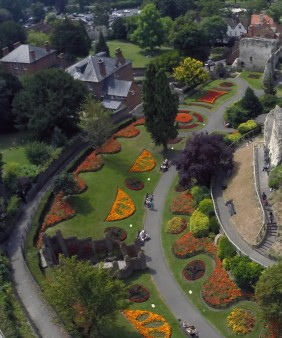 castle aerial shot  top tourist