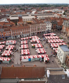 Great aerial view of market stalls