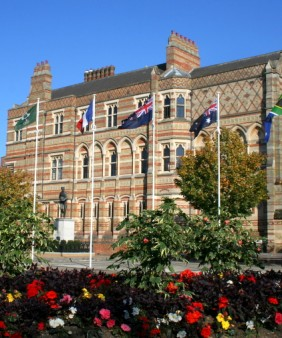 Rugby School with flags