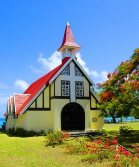 red roof church  w flamboyant
