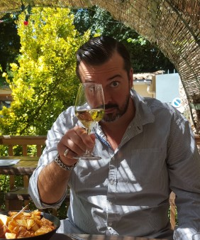 Matthew tasting wine in Caunes (1)